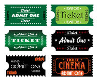 Colorful tickets. Set of colorful numbered tickets with the text admit one written in various styles inside the tickets Stock Photos