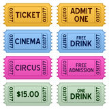 Colorful Tickets Collection. In eight different versions, isolated on white background. Eps file available Royalty Free Stock Photography