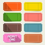 Colorful Tickets Set. Admit One Ticket Vector Royalty Free Illustration