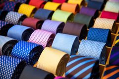 Colorful tie set collection in men shop. Texture line and dot.  royalty free stock images