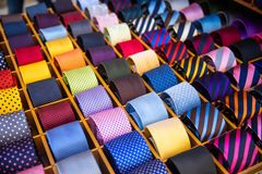 Colorful tie set collection in men shop. Texture line and dot.  stock photography