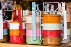 Colorful of tiffin box . Stock Images