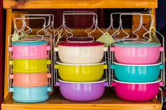Colorful of tiffin box. Royalty Free Stock Image
