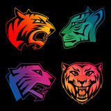 Colorful tiger head logos with rainbow gradients Royalty Free Stock Photos