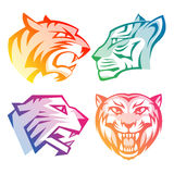 Colorful tiger head logos with rainbow gradients Stock Image