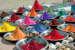 Colorful tika powders on indian market Royalty Free Stock Images