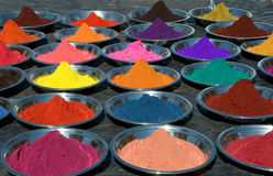 Colorful tika powders on indian market royalty free stock photo