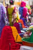 Colorful tika powders on indian market, India , Asia Stock Photography