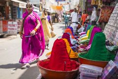 Colorful tika powders on indian market, India , Asia Stock Images