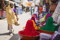 Colorful tika powders on indian market, India , Asia royalty free stock photography