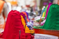 Colorful tika powders on indian market, India , Asia Royalty Free Stock Images