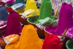 Colorful tika powders on indian market, India , Asia Royalty Free Stock Image