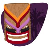 Colorful tiki illustration. With palm tree background Royalty Free Stock Photography