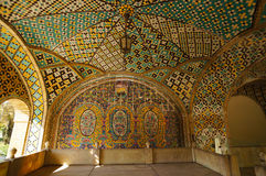 Colorful tiled ceiling of the historical terrace of Golestan Pa. Lace in Tehran,Iran Royalty Free Stock Photo