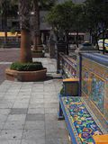 Colorful tiled seating. Around the Plaza Alta, Algeciras, Andalucia, Spain Stock Photos