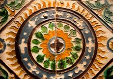 Colorful tiles panel with traditional patterns, made in 15th -16th century, Spain. Colorful tiles panel with the traditional patterns, made in 15th -16th century stock photography