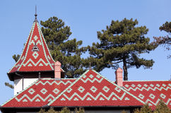 Colorful tiles roof architecture detail Stock Photos