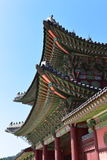 Colorful tiles on the roof of a building in Gyeongbokgung Palace in Seoul Stock Photography