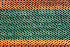 Colorful Tiles of Thai Temple Roof Royalty Free Stock Photos
