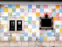 Colorful tilled facade. A house is covered with tiles of different colours and patterns in Santander, Spain Royalty Free Stock Photos