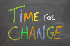 Colorful Time For Change Hand writing on the blackboard Royalty Free Stock Images