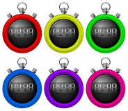Colorful timers. Illustration of the colorful timers on a white background Stock Photo