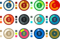 Colorful timers set Stock Photo