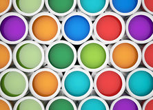 Colorful tins of paint for the background Royalty Free Stock Image