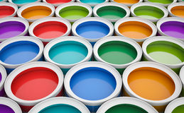 Colorful tins of paint for the background Stock Photos