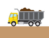 Colorful tip-truck image. Colorful tip-truc on white and brown background. Vector illustration Royalty Free Stock Photos