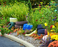Colorful Tire Planters Royalty Free Stock Images