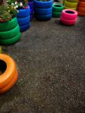 Colorful Tires for Plants Stock Image