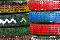 Colorful Tires stack Royalty Free Stock Photography