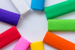 Colourful tissue paper. Round shape, white background stock image