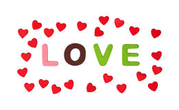 Colorful title LOVE with hearts on the white background, Valenti Stock Images
