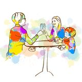 Colorful toast wth glass stock illustration