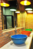 Colorful toilet basins Stock Photo