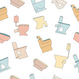 Colorful toilets bowl seamless pattern. Toilet seat vector line icons Stock Photos