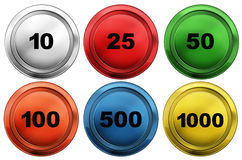 Colorful tokens with different numbers Royalty Free Stock Photos