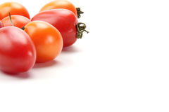 Colorful tomato. Many beautiful and delicious tomatoes on the white background Stock Images