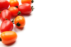 Colorful tomato. Many beautiful and delicious tomatoes on the white background Royalty Free Stock Photography