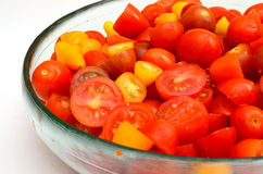 Colorful tomato salad. Colorful fresh salad with three colors of tomatoes Stock Images