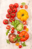 Colorful tomatoes and basil. Top view Royalty Free Stock Photo
