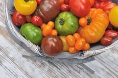 Colorful tomatoes in basket Royalty Free Stock Images