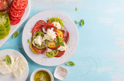 Colorful tomatoes, cheese, pesto and salad on plate Royalty Free Stock Photos