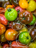 Colorful tomatoes on sale. Fresh red, brown, yellow and green ripe tomatoes in wooden baskets on sale on a farmers Borough Market in London Royalty Free Stock Photo