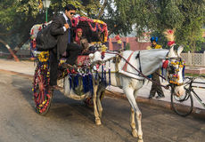 A Colorful Tonga ride at Agra, India. Agra, India - December 10, 2014: A guy on the work takes a lift from a man, in very colorful tonga, on the road in Agra on Stock Images