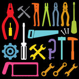 Colorful tool icons vector. On black background Stock Image