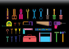 Colorful tool kits. Silhouette tool kits on black  background Royalty Free Stock Image