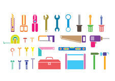 Colorful tool kits. Silhouette tool kits on white background Stock Images